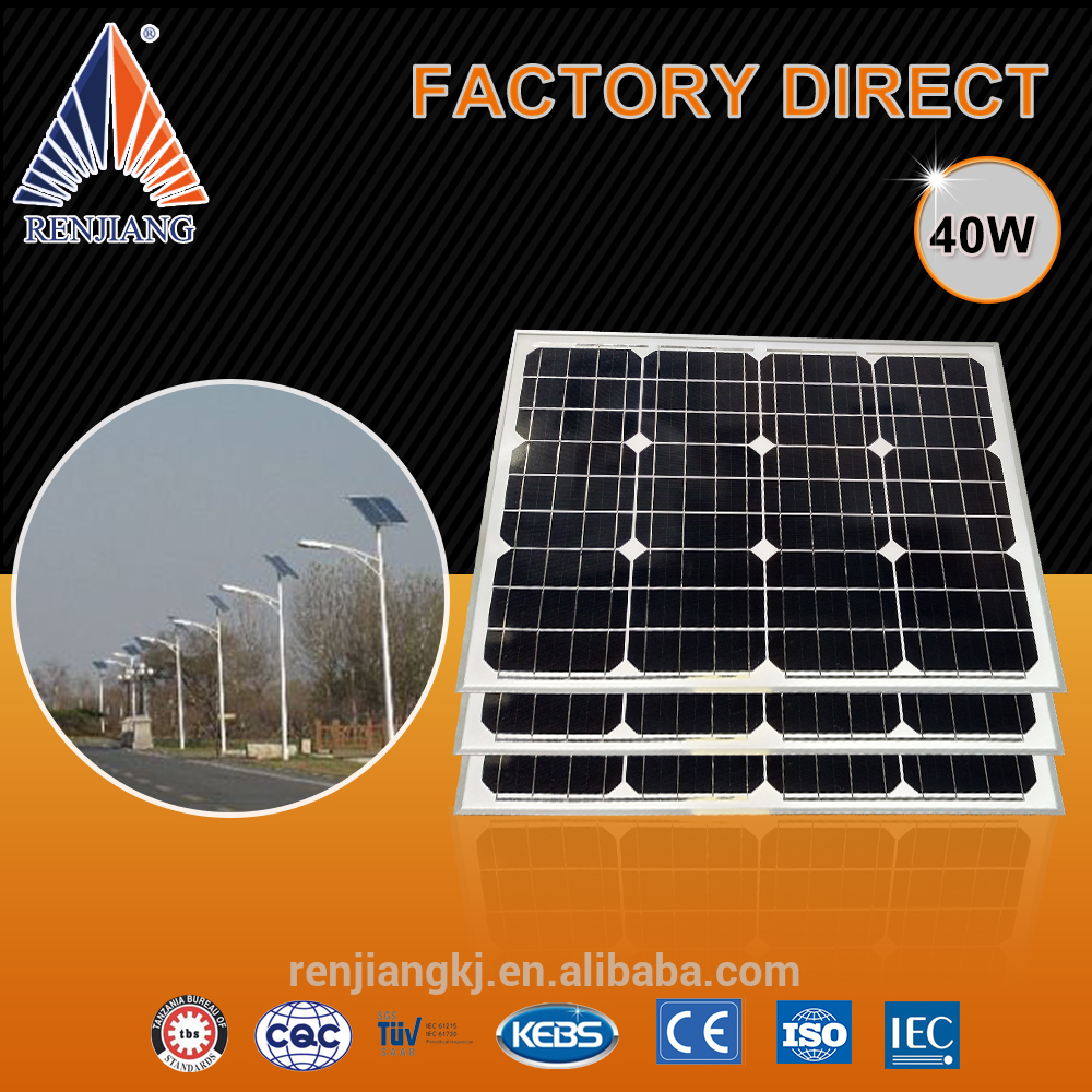 High quality 40W mono solar panel for sale for pv systems mono solar cell module grade A